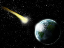 Comet hit on earth - apocalypse and end of time. Illustration Stock Image