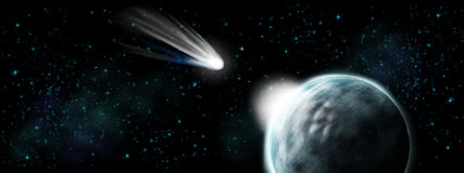 Comet hit on earth - apocalypse and end of time. Illustration Stock Photo