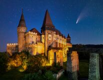 Free Comet In Night Sky Over Corvin Castle, Hunedoara, Transylvania, Romania Stock Photos - 191100603