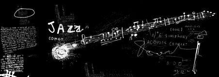 Comet jazz. The symbolic image of the comet, which consists of musical notes stock illustration