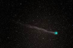 Comet Lovejoy with a green head and long tail royalty free stock images