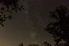 Comet on the milky way Stock Photos