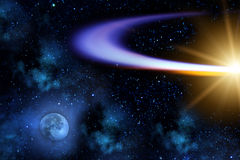 Comet   moon  flying   orbit Royalty Free Stock Photos