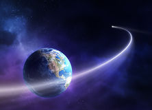 Comet moving past planet earth royalty free illustration
