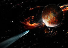 Comet planet. Comet entering the atmosphere of a planet Stock Image