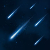 Comet shower in the starry sky. Vector abstract background Stock Photography