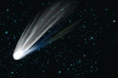 Comet on the space. In cosmos - illustration Royalty Free Stock Photo