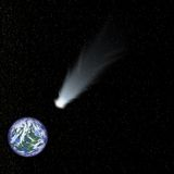 Comet speeds toward earth. Comet in foreground seem on a collision course with earth, in background, in a star-filled background vector illustration