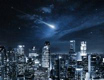 Comet star in Singapore night sky. Shooting star in the Singapore night sky Stock Photos