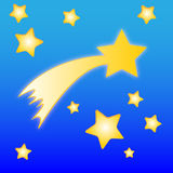 Comet and stars. Illustration of comet and stars on the blue background Stock Images