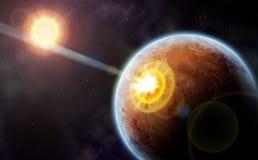 Comet strike against desert planet Stock Photo