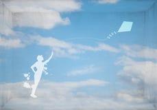 Cometa de la muchacha y del vuelo Foto de archivo libre de regalías