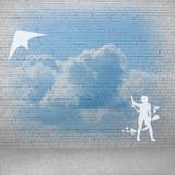 Cometa de la muchacha y del vuelo Fotografía de archivo