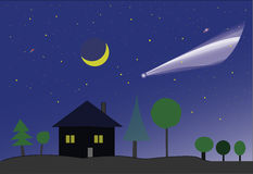 Cometa e lua Fotografia de Stock Royalty Free