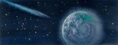 Cometa e terra da ilustração da aquarela Fotos de Stock Royalty Free