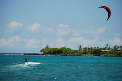 Cometa que practica surf la isla grande Foto de archivo