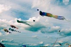 Cometas de diversas formas en el cielo, festival del verano imágenes de archivo libres de regalías