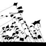 Cometas de la silueta en el cielo fotos de archivo libres de regalías