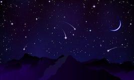 Cometas sobre os picos de montanha ilustração do vetor