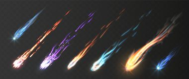 Free Comets And Meteorite Set. Vector Realistic Meteors And Fireballs With Fire Trails. Meteor Rain Vector Elements Royalty Free Stock Photo - 156918695