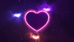 2 comets draw heart shape in the space. With nebulas and stars vector illustration