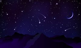 Comets over the mountain peaks vector illustration