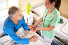 Comfort alone patient at nursing home. Neglected old people Stock Images