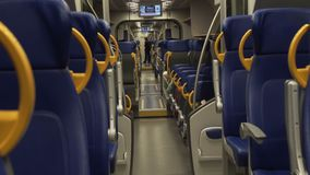 Comfort city trip by a modern train. A trip by train in the city stock footage