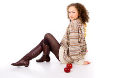 Comfort curly girl with apples Stock Images
