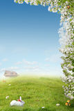 Comfort ecology Place. A beautiful ecology  landscape with apple blossom , bird, white rabbit, mushroom and home for background or cards Royalty Free Stock Photography