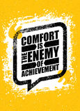 Comfort Is The Enemy Of Achievement. Strong Inspiring Creative Motivation Quote Template. Vector Typography Banner. Design Concept On Grunge Wall Texture Rough Stock Image