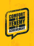 Comfort Is The Enemy Of Achievement. Strong Inspiring Creative Motivation Quote. Template. Vector Typography Banner Design Concept On Grunge Wall Texture Rough Royalty Free Stock Image