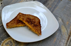 Comfort food with a vegan grilled cheese on a wood Stock Images
