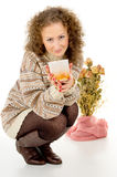 Comfort, a girl with a cup of tea Stock Photo