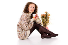 Comfort the girl in a sweater Stock Photo