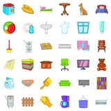 Comfort house icons set, cartoon style. Comfort house icons set. Cartoon style of 36 comfort house vector icons for web isolated on white background Stock Photos