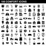 100 comfort icons set, simple style. 100 comfort icons set in simple style for any design vector illustration Royalty Free Stock Photography
