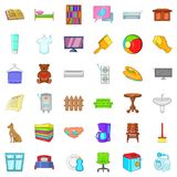 Comfort indoor icons set, cartoon style. Comfort indoor icons set. Cartoon style of 36 comfort indoor vector icons for web isolated on white background Stock Photo