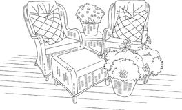Comfort Outdoor Sofa Outline Vector Illustration. Comfort Outdoor Sofa Vector Illustration for many purpose such as architecture and interior blog, website Vector Illustration