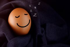 Comfort and Relaxation Concept, Happy Egg Sleeping with Smiley F Royalty Free Stock Image