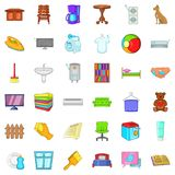 Comfort and rest icons set, cartoon style. Comfort and rest icons set. Cartoon style of 36 comfort and rest vector icons for web isolated on white background Stock Photos