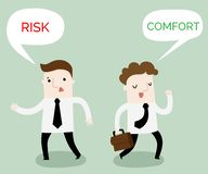 Comfort or risk zone business cartoon. Vector and illustration royalty free illustration