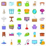 Comfort room icons set, cartoon style. Comfort room icons set. Cartoon style of 36 comfort room vector icons for web isolated on white background Royalty Free Stock Photography