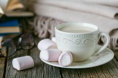 Comfort tea with warm wool plaid and sweets Stock Photo