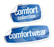 Comfort wear stickers. Comfort wear collection vector stickers Royalty Free Stock Photos