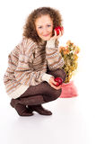 Comfort woman in sweater and red apples Royalty Free Stock Image