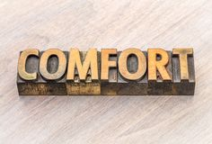 Comfort word abstract in wood type Stock Photos