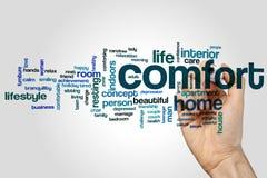 Comfort word cloud stock photo