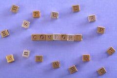 Comfort word metal block royalty free stock image