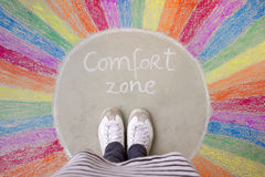 Comfort zone concept. Comfort zone circle chalk drawing with rainbow colors Stock Photo